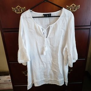 Tahari White Linen Top